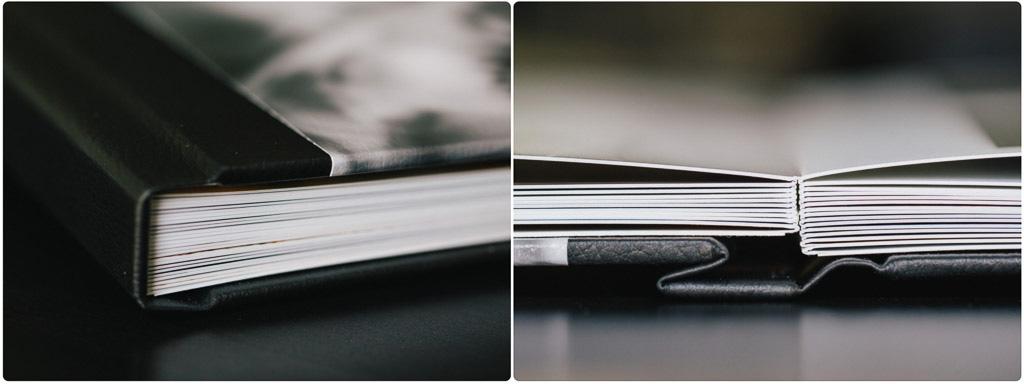 Detailaufnahme Hochzeitsalbum mit planliegenden Doppelseiten